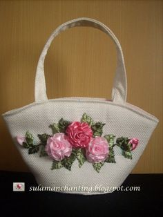 Ribbon Embroidery Purse Silk Roses by SIS2rs on Etsy, $35.00