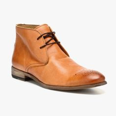 Leather Oxford Booties In Cognac