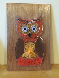 Owl string art, what a fiddley bugger to do, but my is he gorgeous! Over 300 nails required and 5 different thread colours. Done on varnished 9mm plywood.