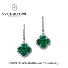 Start celebrating St. Patrick's Day with these 14K White Gold Diamond Emerald earrings. www.mcgeejewelers.com