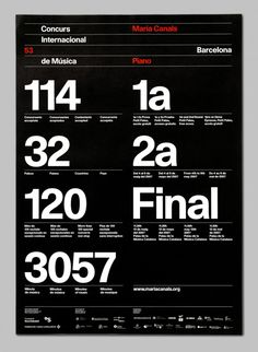 I'm absolutely in love with this poster by Barcelona based studio, Astrid Stavro, that was created for the International Piano Competition in Strong, beautiful typography on a well form… Graphisches Design, Swiss Design, Layout Design, Print Design, Studio Design, Typography Love, Lettering, Creative Typography, International Typographic Style