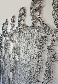 Pamela Campagna e Thomas Scheiderbauer fios e unhas retratos. / Pamela Campagna and Thomas Scheiderbauer thread and nail portraits. Street Art, Instalation Art, 3d Art, Illustration Art, Illustrations, Thread Art, Motif Floral, Wire Art, Art Design