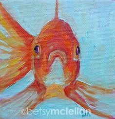 Goldfish Original Painting 4x4 by betsymclellanstudio on Etsy, $25.00