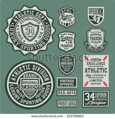 College Athletic sport labels typography, t-shirt graphics, vectors