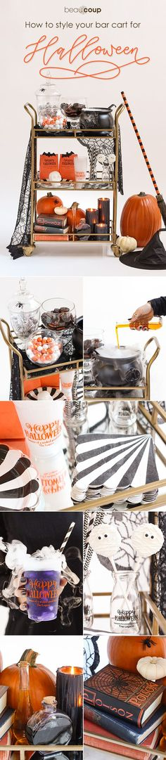 A Halloween bar cart with candy, cookies, pumpkins, a witch hat - halloween club decorations