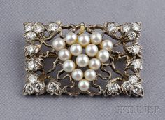 Cultured Pearl and Diamond Brooch,  M. Buccellati, designed as a cluster of pearl grapes among diamond melee leaves, 18kt gold and silver mount, lg. 1 7/8 in., signed.