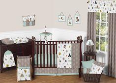 Sweet Jojo Designs 11-Piece Outdoor Adventure Nature Fox Bear Animals Boys Baby Bedding Crib Set Without Bumper
