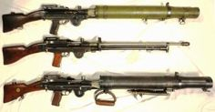 Lewis guns .303-inch (or Lewis automatic machine gun or Lewis automatic rifle).  The Lewis Gun is a First World War-era light machine gun of American design that was perfected and widely used by the British Empire.  It was first used in combat in the First World War, and continued in service with a number of armed forces through to the end of the Korean War.  It has a wide tubular cooling shroud around the barrel, often omitted in when used on aircraft, and a top-mounted drum-pan magazine.