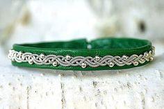 Sami Lapland Viking armband | Women cuff leather bracelet | Silver beaded green…