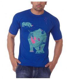 Gor, The Rhino - Blue T-Shirts (Male), Wildlife inspired art that conserves, Conservation, India, Kaziranga, Imdian Rhino, Rhinoceros, Assam