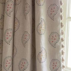 Susie Watson Designs - Susie Watson Designs Fabric Collection - Fringing running down the edge of beige curtains featuring a simple floral paisley pattern in grey, pink and yellow-green Lounge Curtains, Beige Curtains, Drapes Curtains, Hallway Curtains, Cottage Curtains, Printed Curtains, Fabric Blinds, Curtain Fabric, Linen Fabric