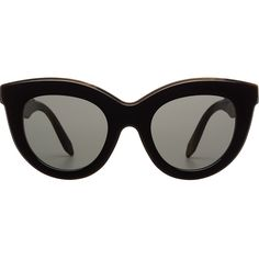 Victoria Beckham Layered Cat-Eye Sunglasses (46000 ALL) ❤ liked on Polyvore featuring accessories, eyewear, sunglasses, black, cat-eye glasses, victoria beckham, victoria beckham eyewear, cat eye sunglasses and cateye sunglasses