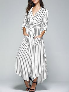 Striped Lapel Collar Pockets Belted Dress
