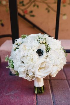 Classic wedding bouquet idea - white bouquet with roses, hydrangeas and anemones {StepOnMe Photography}