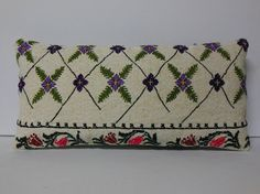 HANDWOVEN floral lumbar pillow cream antique rug old country pillow sham flower moroccan cushion floor pillow cover lumbar kilim pillow 6829
