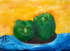 Two Green Peppers Oil on canvas 9x12
