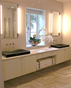Gary Hutton Master Bath Vanity, modern by Design Showhouse 2009. Luvin the orchids in a shell!