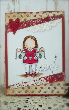 Heather Ellis image, Christmas card, Copics, Synnøves papirverksted