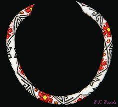 Häkelkette - Bead crochet rope - Blüten rot