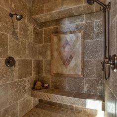 mediterranean doorless shower designs bathroom mediterranean with rain head modern bathroom accessories Rustic Bathroom Designs, Bathroom Design Luxury, Rustic Bathrooms, Diy Bathroom Decor, Dream Bathrooms, Beautiful Bathrooms, Shower Designs, Tile Bathrooms, Small Bathrooms