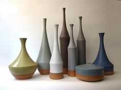 muted colors.  ceramics.  neutrals with terra cotta.