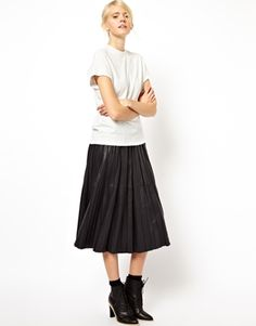 ASOS WHITE Midi Skirt In Pleated Leather