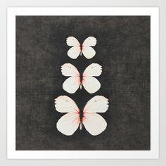 three pink butterflies Art Print by her art