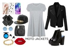 """moto jacket"" by gasha-ary on Polyvore featuring LE3NO, Fujifilm, Black, Sunday Somewhere, Moschino, Calvin Klein, Lime Crime, MAC Cosmetics and motojackets"