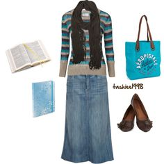"""""""Girls Bible Study"""" by tashiee1998 on Polyvore Don't particularly like the skirt or purse. But I like the shoes, sweater, and scarf."""