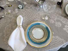 China:  Herend Gwendolyn Dinner , Silk Ribbon Turquoise Dessert with Bernardaud Eden Turquoise Bread and Butter. Crystal: Waterford Lismore Essence.