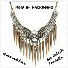 RESTOCKING Elegant Statement Necklace 4 Available Price is $7 or 2 for $10 PRICE FIRM  IF U NEED A BUNDLE LISTING FOR 2 Necklaces LET ME KNOW  Zinc Alloy Light-Weight Gold-Plated Pendant Has 3 Crystals,Sliver Rhinestones and Bronze Spike Tassels for that Sassy Chic Look  Has Lobster Clasp for Closure  About 8 Inches With 2 Inch Extender Jewelry Necklaces