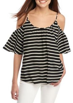 French Connection BlackWhite Striped Polly Plains Cold Shoulder Top