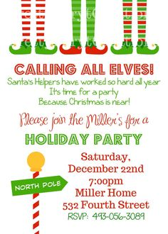 elf feet holiday party invitation you by prettypartycreations 1200