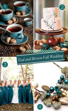 Adding teal touches to a brown wedding palette (cake, gowns, accessories) #brownpalette #tealtouches #weddingpalette