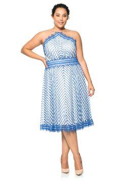 Chevron Blue Chiffon Dress - PLUS SIZE
