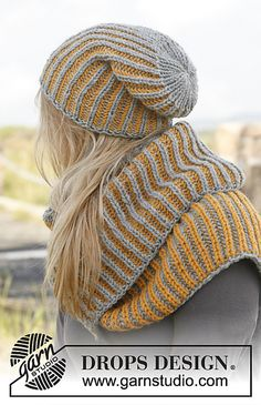 Ravelry: 149-43 Nina - Hat and neck warmer with English rib in two colors in Nepal pattern by DROPS design