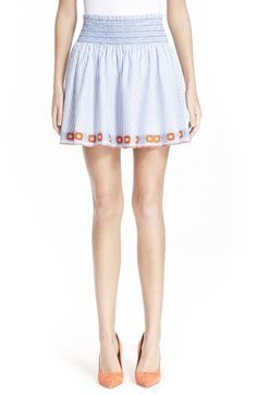 TORY BURCH 'Grace' Embroidered Cotton Skirt. #toryburch #cloth #