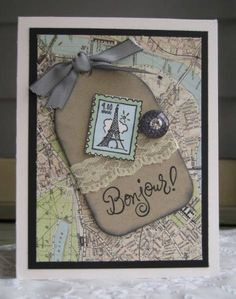 Wanderlust by maryrose - Cards and Paper Crafts at Splitcoaststampers Bon Voyage Cards, Scrapbook Cards, Scrapbooking, Paris Cards, Paper Note, Eiffel Towers, Travel Cards, Paper Crafts, Diy Crafts