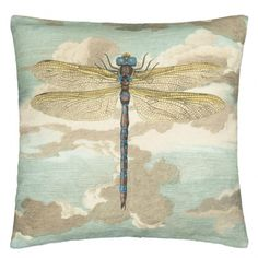 Coussin Dragonfly Over Clouds Sky Blue John Derian by Designers Guild Bleu CCJD5008 John Derian by Designers Guild