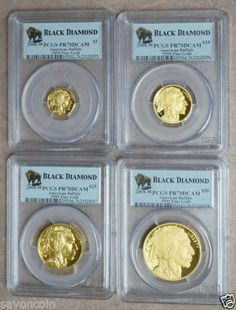 2008 W American Gold Buffalo Black Diamond 4 coin proof set PCGS PR70DCAM