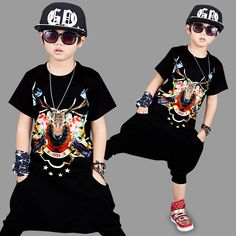 Fashion boys clothing sets antler print pattern T-shirt pants 2pcs teenagers school Hip-hop costume boys clothes kids clothing