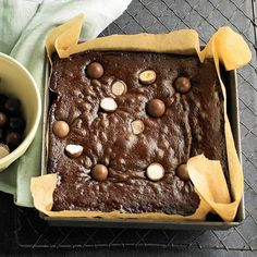"""Malted Milk Ball Cake- yummy! Especially if you add a gooey layer of the choco """"icing"""" to the middle!"""
