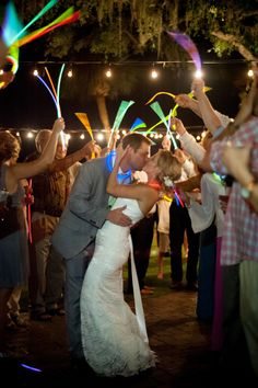 Glow Stick Exit | Reception | Kiss | Destin Bay House | Beach wedding