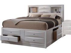 Acme Ireland Queen Storage Bed in White 21700Q - Storage Beds - Beds Bedroom Furniture Stores, Acme Furniture, Furniture Market, White Furniture, Kitchen Furniture, Furniture Deals, Bookcase Headboard, Bookcase Storage, Bed Storage