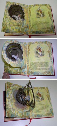 Alice in Wonderland altered book.  Online artist.  INCREDIBLE work!