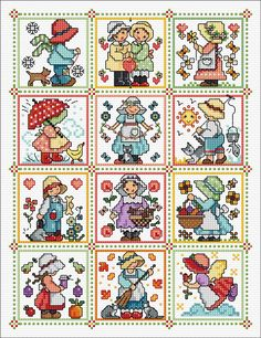 12 delightful Sunbonnet Sue designs ready to stitch as cards or as a complete sampler. Cross Stitch Kitchen, Mini Cross Stitch, Cross Stitch Cards, Cross Stitch Borders, Cross Stitch Alphabet, Modern Cross Stitch Patterns, Cross Stitch Designs, Cross Stitching, Cross Stitch Embroidery