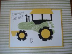 handprint art-birthday card or fathers day.  Going to have to do this only with BLUE and figure out something cute to say.  NO GREEN TRACTORS :P