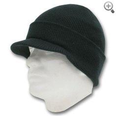 46d253e4c83 Knit Beanie Visor Hat - Scull Cap Style - Black  Knit  Beanie  Visor