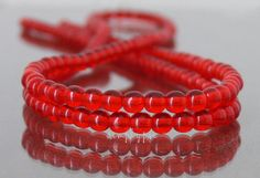 4mm Round Transparent Red Czech Glass Beads 50 by simplypie