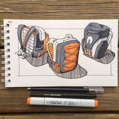 Backpack sketches from designer Marcos Bowman @whitefoxone